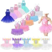 Girls Kids Sequins Lyrical Ballet Dance Tutu Dress Gym Leotard Dancewear Costume