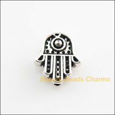 6Pcs Tibetan Silver Tone Hand Palm Spacer Beads Charms 10x11mm