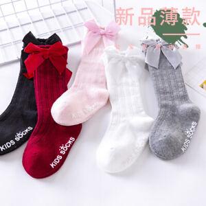Baby Girl Knee-High Socks Toddlers Bow Stockings Newborn Infant Non-Slip Sock