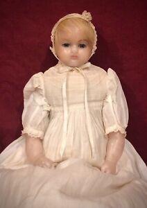 "20"" Antique English Poured Wax Doll w/ RARE Lever Sleep Eyes"
