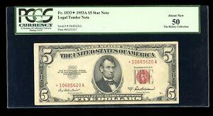 DBR 1953-A $5 Legal STAR Fr. 1533* PCGS AU-50 Serial *10685620A