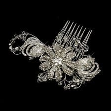 Antique Silver Swarovski Crystal & Rhinestone Flower Bridal Wedding Hair Comb