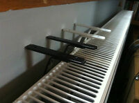 RADIATOR SHELF BRACKETS~ 2 PAIR BLACK WHITE & GREY~EASY FIX NO DRILLING REQUIRED