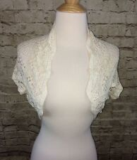 New Victoria's Secret Ivory Crochet Cropped Cardigan Short Sleeve XS/S NWTs