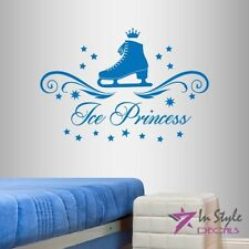 Vinyl Decal Ice Princess Skates Figure Skating Girls Sports Wall Sticker 2030