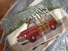 Pottery Barn Woody Lumbar Pillow Cover 16x26 Crewel Embroidered Car Christmas