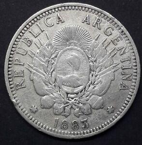 ARGENTINA 50 CENTAVOS DE PATACON 1883-SILVER