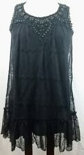 Women's New Look Layered Ruffled Beaded Black Lace Dress Size 10 Romantic