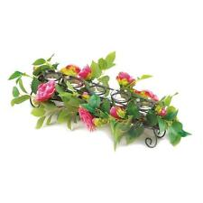Faux pink floral flower decorated metal glass candle holder wedding centerpiece