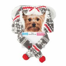 Fetchwear Fleece Dog Accessory Red Gray Trapper Hat Scarf Set XS Small
