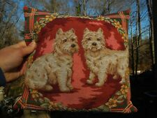 Vintage West Highland Terrier Scotty Dog Tapestry Throw Pillow