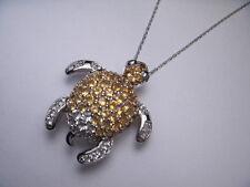 Gorgeous Estate 14K White Gold Diamond Citrine Turtle Pendant Necklace