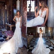 Blush White Wedding Dresses Bridal Gowns Trumpet Mermaid Plus Size 4 8 12 16 18