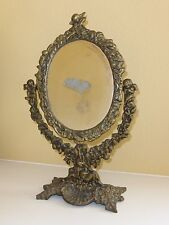Antique Floral & CHERUB Shell Design Bronze VANITY MIRROR Hand Held