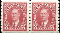 1937 Mint H PAIR Canada 3c VF Scott #240 Mufti Coil Stamps