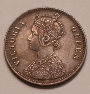 1862 Silver Rupee of British / India subtle Rainbow Tone QUEEN VICTORIA