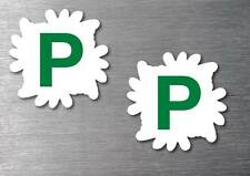 Green P Plate x 2 stickers STREET LEGAL  quality 7 year vinyl water & fade proof