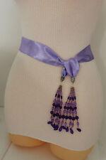 Women Fashion Belt Long Lavender Tie Fringe Beads Scarf Hip High Waist Size XS S