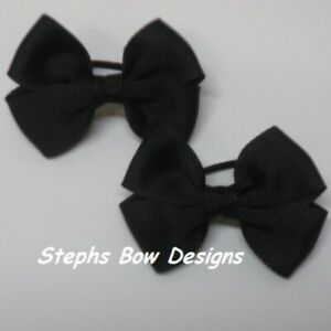 Lot 2 Solid Black Dainty Pigtail Hair Bows Set Fits Baby to Toddler Halloween