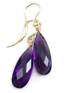 Amethyst Earrings Sim Purple Faceted Drops Long Narrow Teardrops 14k Sterling