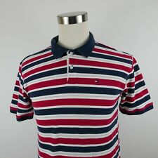 Tommy Hilfiger Boys Cotton SS Red White Navy Blue Striped Polo Shirt Youth XL
