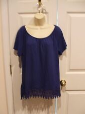 NWT $26 ST. JOHNS BAY royal blue   cotton blend  TOP SIZE LARGE