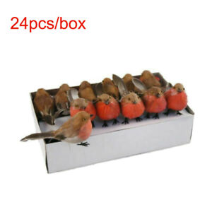 24pcs Christmas Artificial Robins Feather Birds Tree Table Cake Decoration Craft