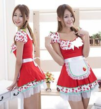 Hot Red Sweet Strawberry Pattern Lolita Fashion Dress, Cosplay Costume, UK 10-14