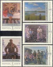 Russia 1987 Soviet Paintings/Art/Planes/Cattle/Soldier/Landscape 5v set (n17854)