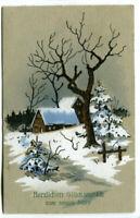 uralte AK Neujahrskarte verschneites Haus und Tannebaum 1913 //20