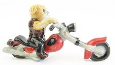 Miniature Ceramic British Bulldog on Harley Motorbike Dog Figurine