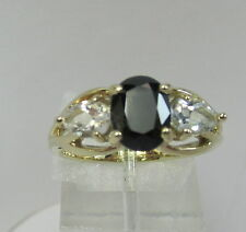 Estate 10K YG 2.3 CTW Blue and White Topaz 3 Stone Ring 3.3 Grams Size 7
