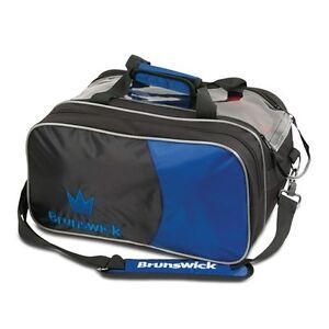 Brunswick Crown Black/Royal 2 Ball Tote With Shoe Pouch Bowling Bag