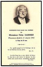 CANIVET DE DECES DE MR FELIX GARNIER EN 1963   LE PUY