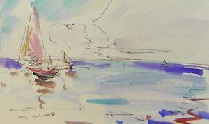 JOSE TRUJILLO - ORIGINAL Watercolor Painting Contemporary Modernism Sea Sailboat