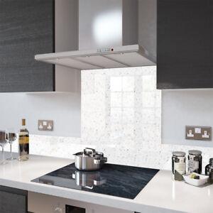 Premier Range White Cosmos Glass Splashback - 70cm Wide x 75cm High