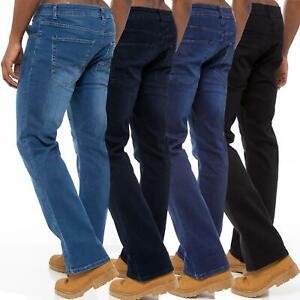 Mens Bootcut Jeans Wide Leg Flared Stretch Denim Pants Big Tall King All Waists