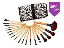 Glow 19 Pinceaux de Maquillage manches en bois dans l'affaire léopard imprimé