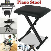 PIANO STOOL KEYBOARD BENCH SEAT BLACK PADDED CUSHION CHAIR ADJUSTABLE HEIGHT UK