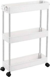 Modern Kitchen Trolley Slim Storage Rack Narrow Shelf With Wheels Side Cupboard