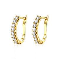 Fashion Women 18K Gold Plated Jewelry Crystal Cubic Zirconia Earrings Huggie