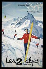 AFFICHE ORIGINALE Les 2 ALPES  Xe JEUX OLYMPIQUES D'HIVER GRENOBLE 1968