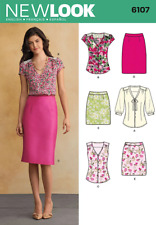 New Look Pattern 6107, Tie Blouse, Shirt & Straight Pencil Skirt, Size 8-18 NEW
