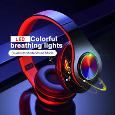 Headset Wireless Bluetooth 5.0 Headset Bass Stereo Colorful Led Lights