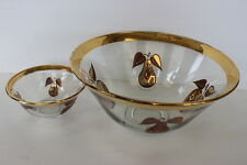 Georges Briard Glass Chip & Dip Bowls Forbidden Fruit Pattern 22Kt Gold Accents
