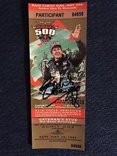 Eddie Cheever Jr 1998 Winner Signed Indianapolis Indy 500 Ticket 1999 Race Auto