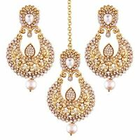 Fancy Indian design Gold Plated Pearl Earring Set with Maang Tikka for Women