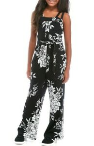 Amy Byer Big Girl's Sleeveless Knit Floral Jumpsuit-Size-L(14) or XL(16)