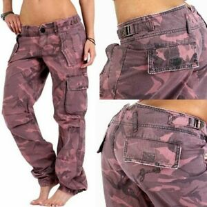 GUESS DAMEN CARGO HOSE JEANS PANT W27 - M ARMY CAMOUFLAGE MILITARY STYLE SOMMER