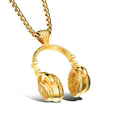 Punk Hip-Hop Men's Cool music headset stainless steel pendants necklace Gold 24'